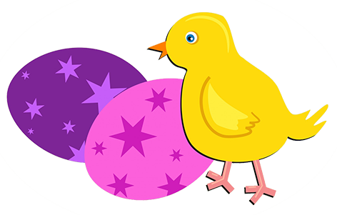 Chicken And Colore Easter Eggs Chick Clipart
