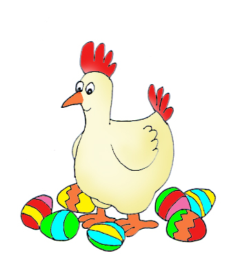 easter hen with easter eggs
