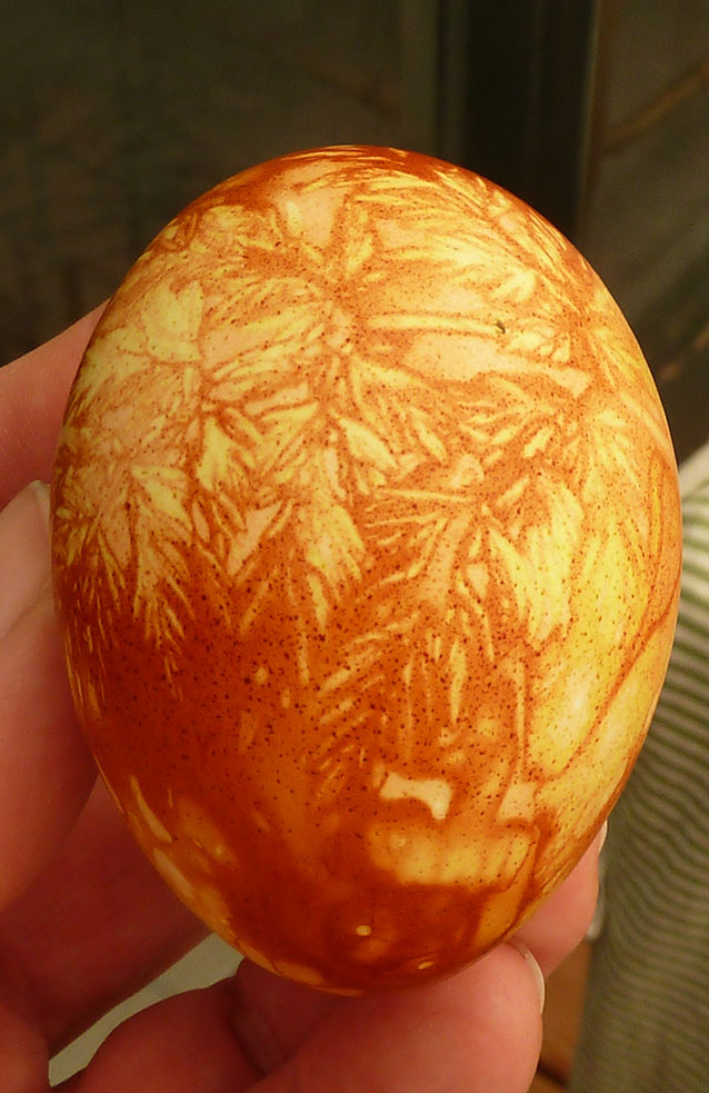 Onion peel decorated Easter egg