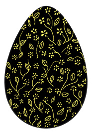 Easter egg black with golden flowers