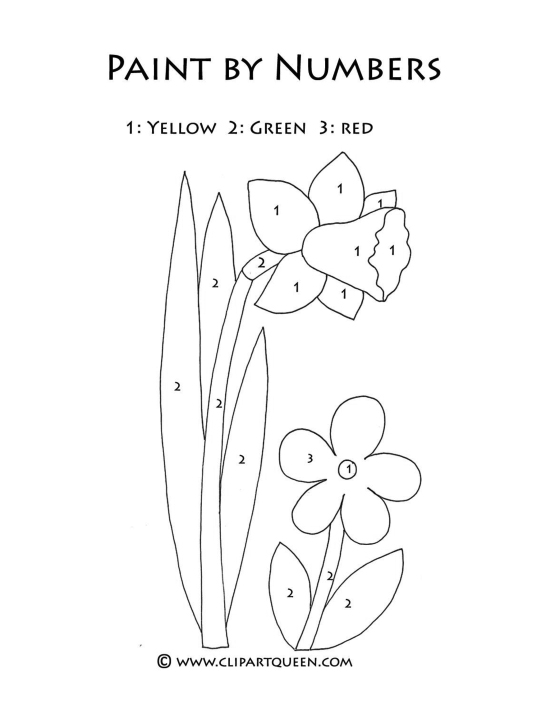Easter coloring pages paint by numbers daffodil