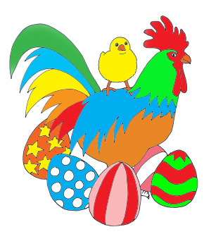 Easter coloring pages eggs chicken hen colors