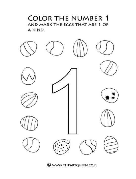 Easter activities color number one eggs