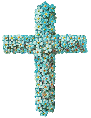 Easter cross made of forget-me-not