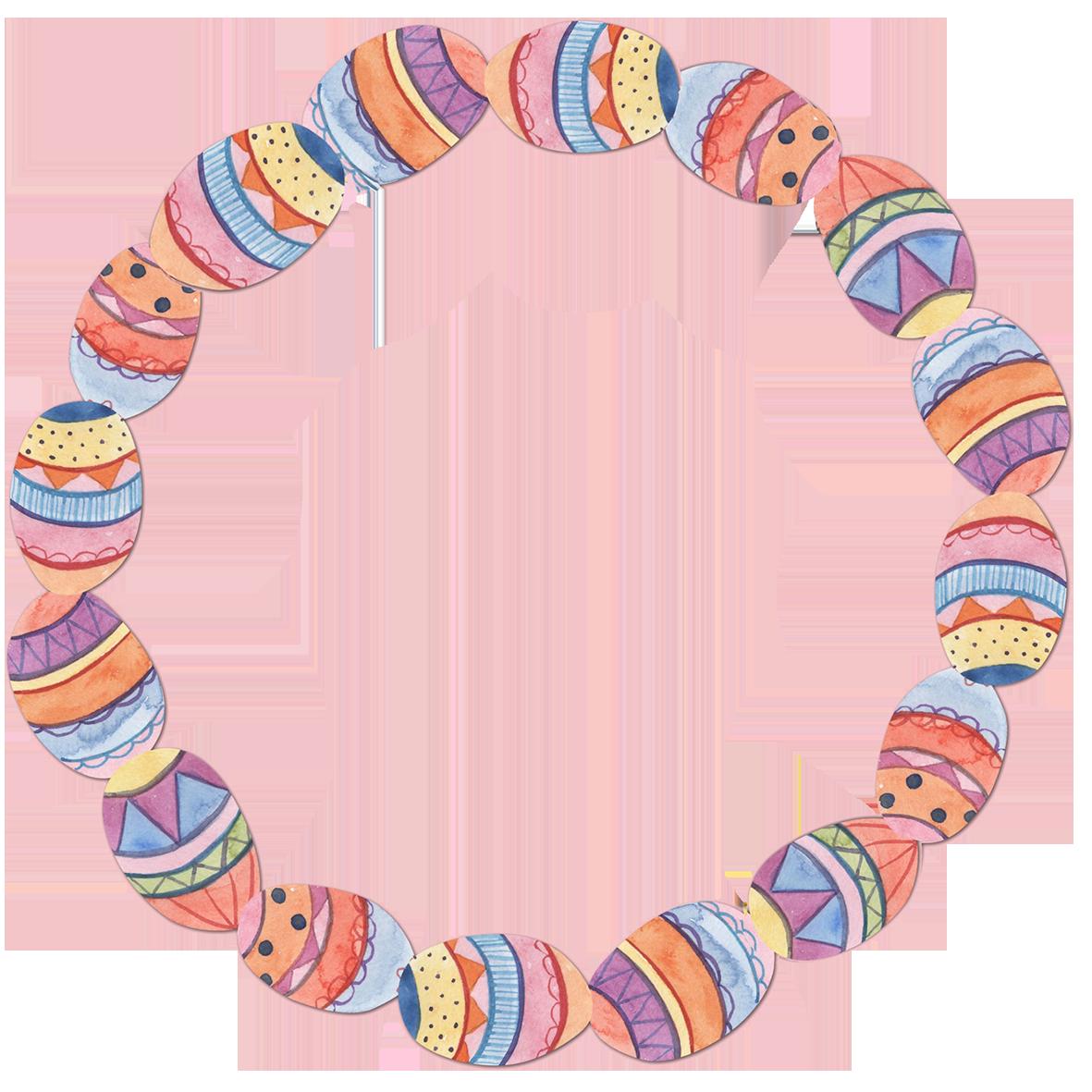 Easter egg wreath watercolor