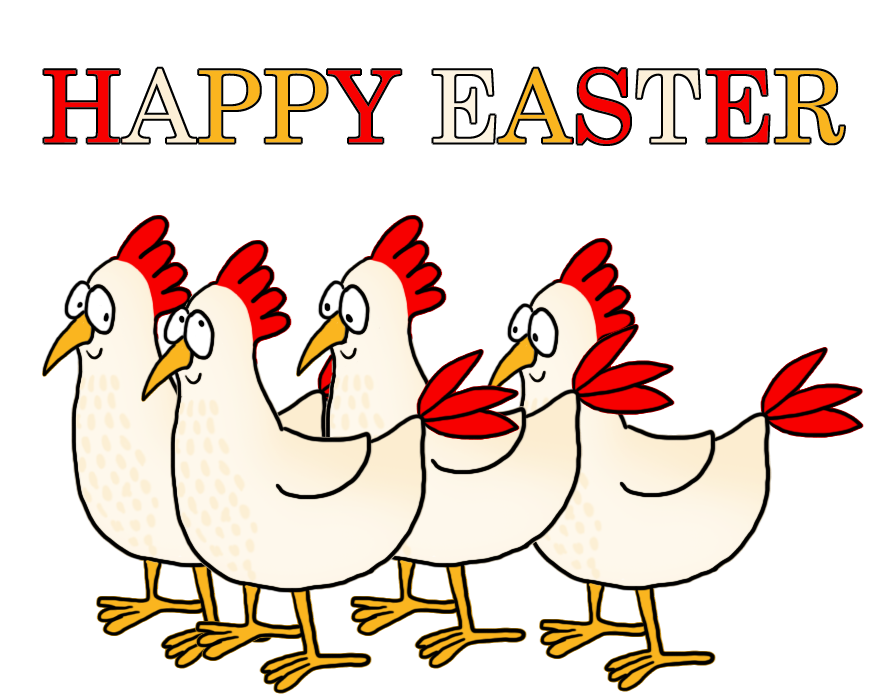 lots of hen Easter greeting