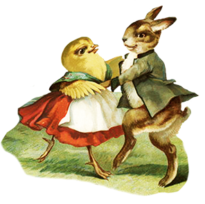 Easter hare and chicken dancing