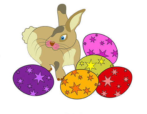 Easter hare and eggs