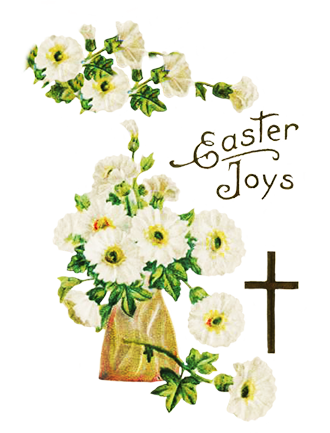 Easter flowers and cross
