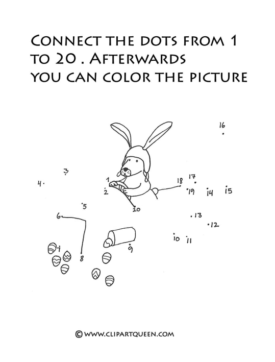 dot to dot help the Easter bunny