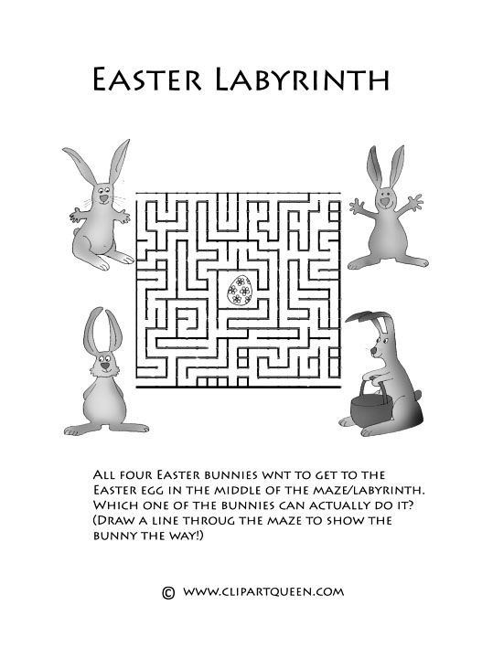 Easter printables labyrinth for bunnies