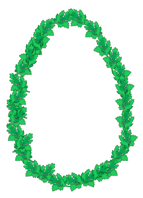 egg shaped frame with leaves