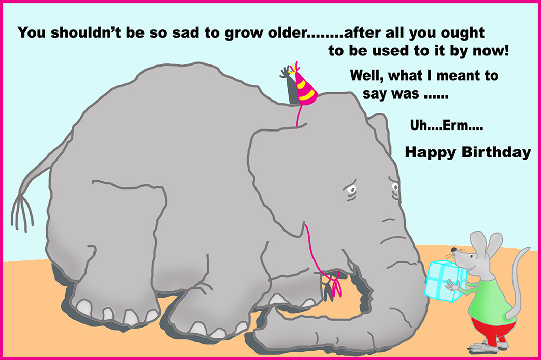 Funny printable birthday cards funny birthday card with elephant and mouse bookmarktalkfo Image collections