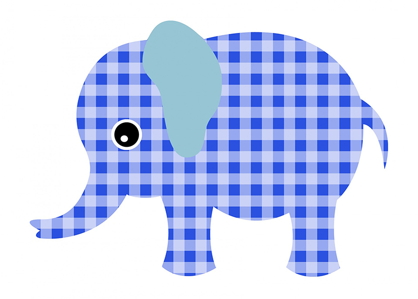 checkered in blue elephant