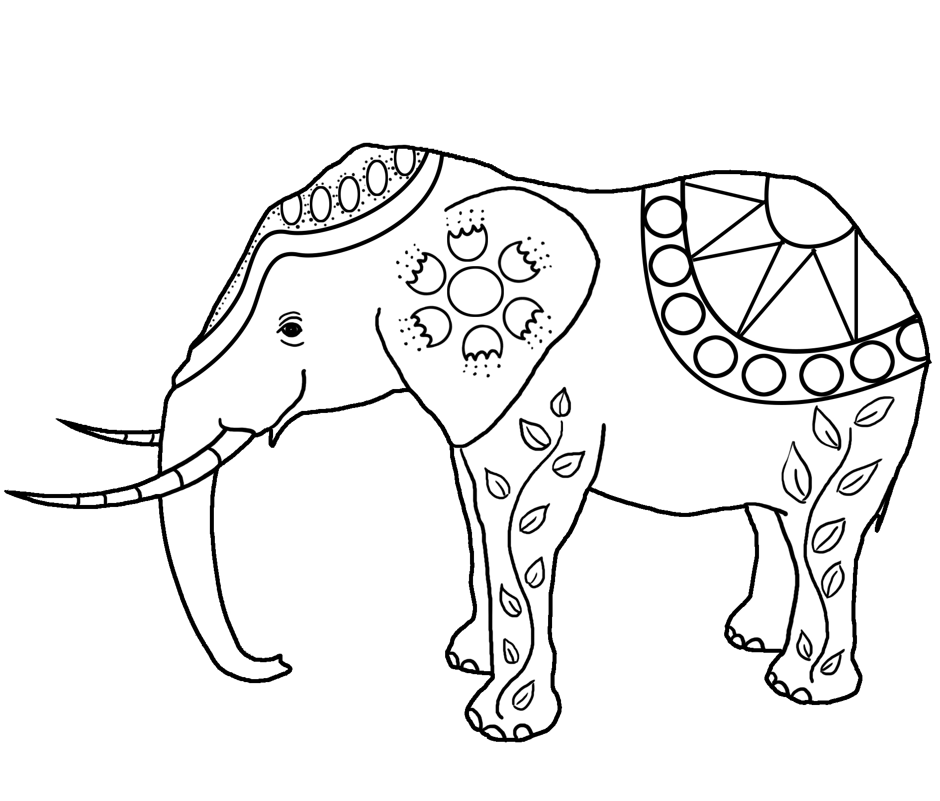 decorated elephant drawing for coloring