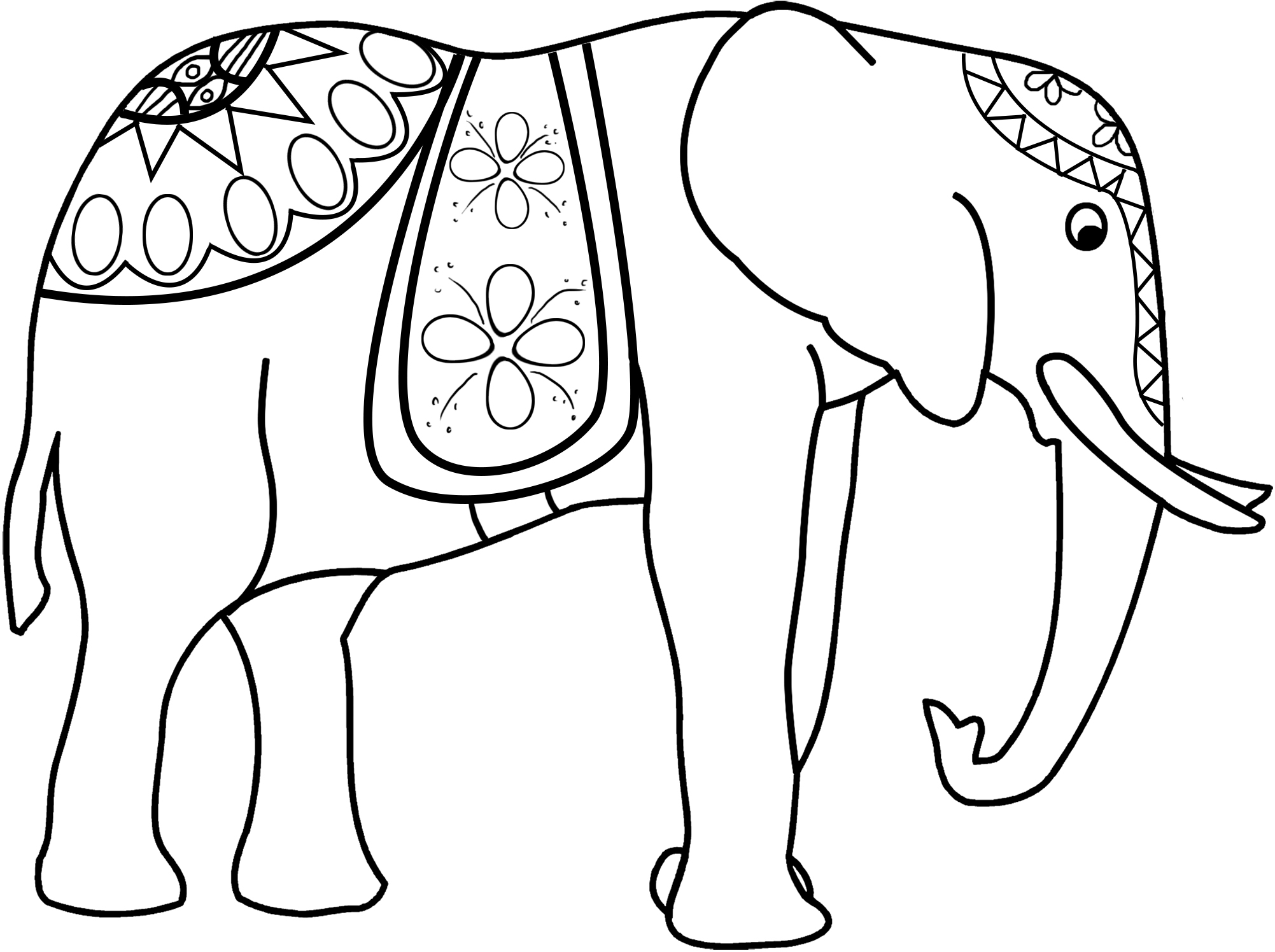 elephant decorated coloring