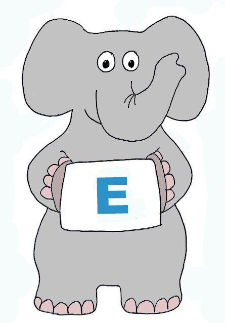 Elephant clip art with E letter