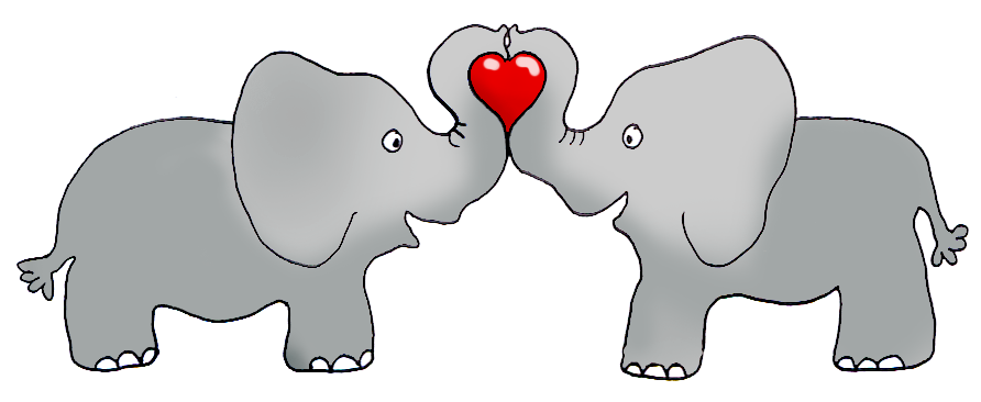 elephants holding a red heart
