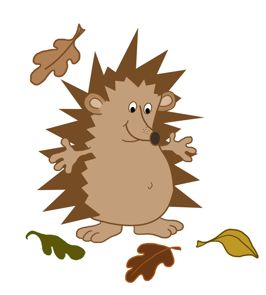 hedgehog with fall leaves