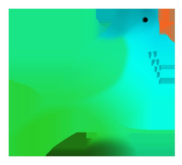 fantasy colored bird silhouette