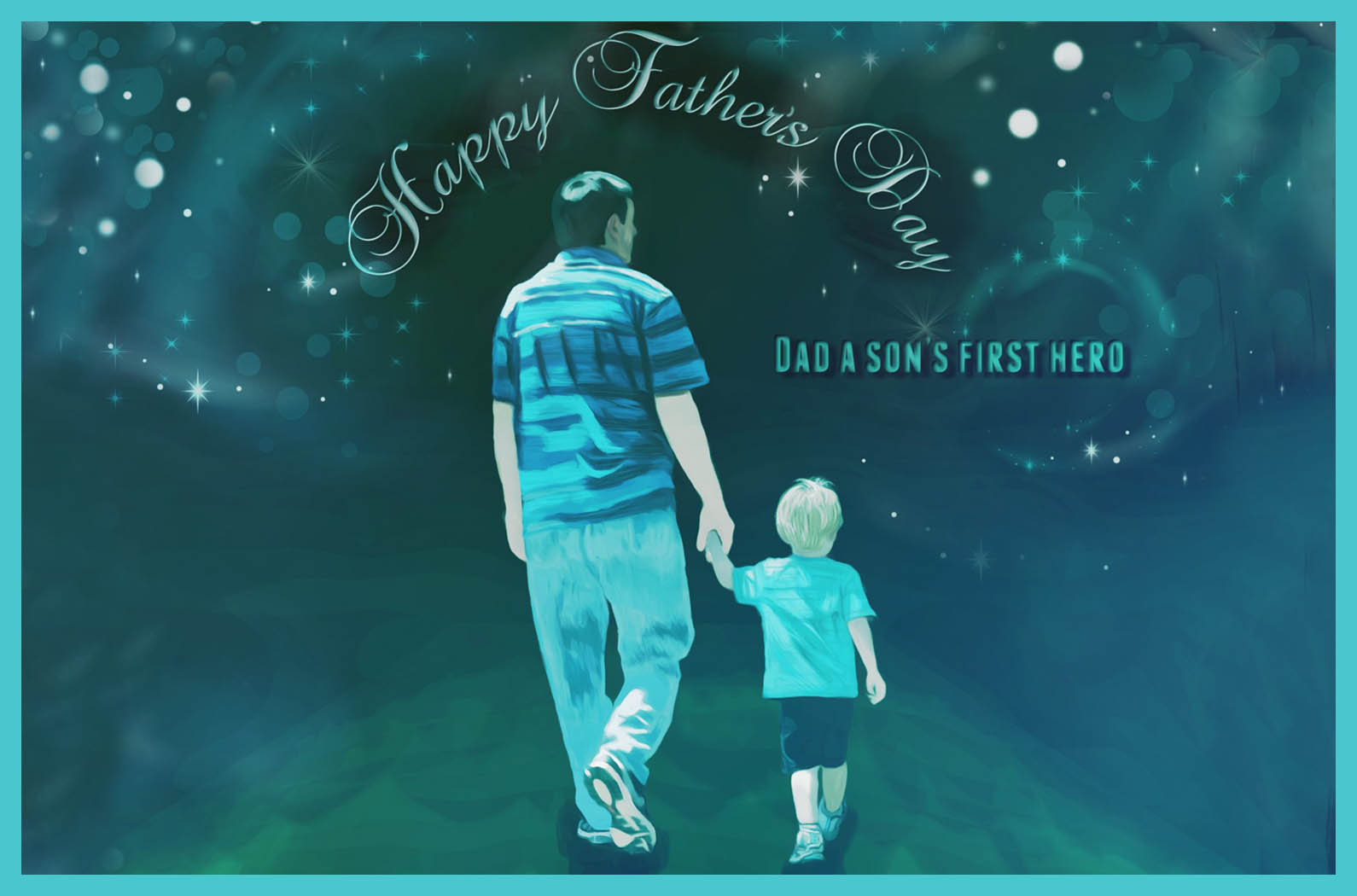 father and son hand in hand in universe