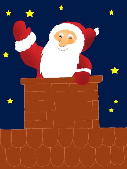 Santa Claus clipart in chimney at night