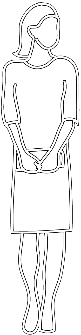 Outline of woman with handbag