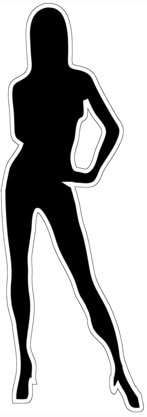 Black silhouette with white outline woman