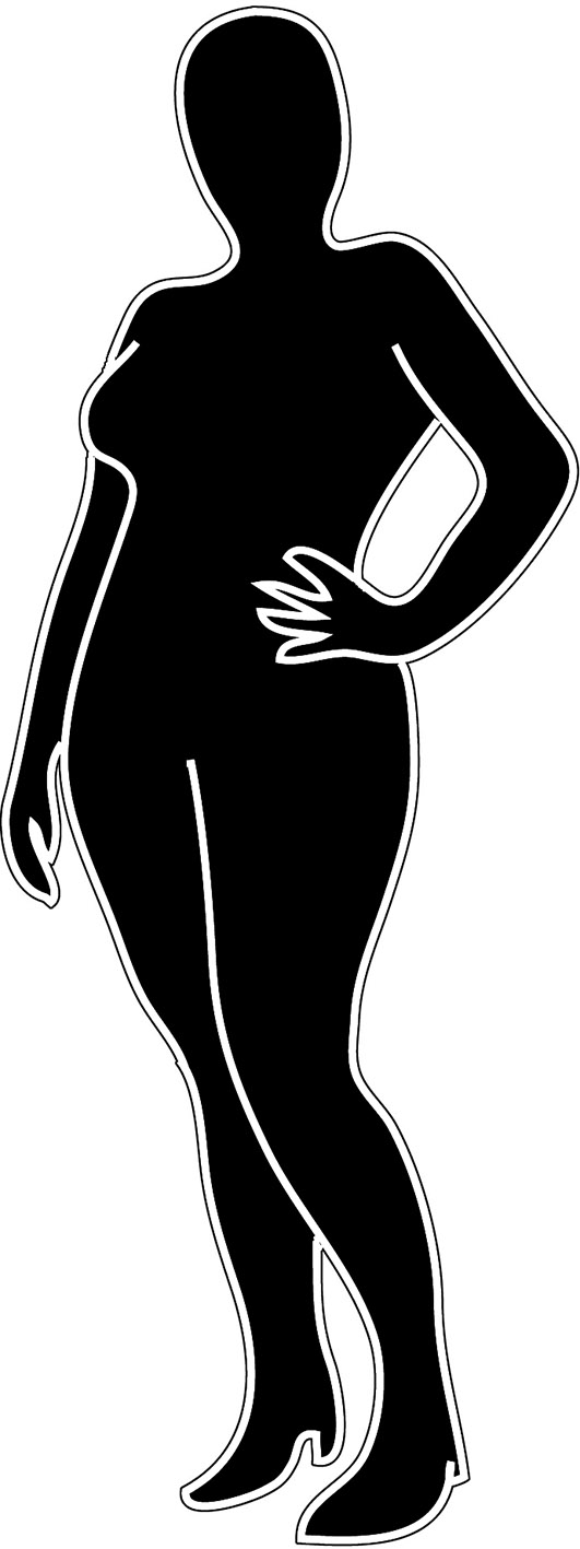 female silhouette of chubby woman