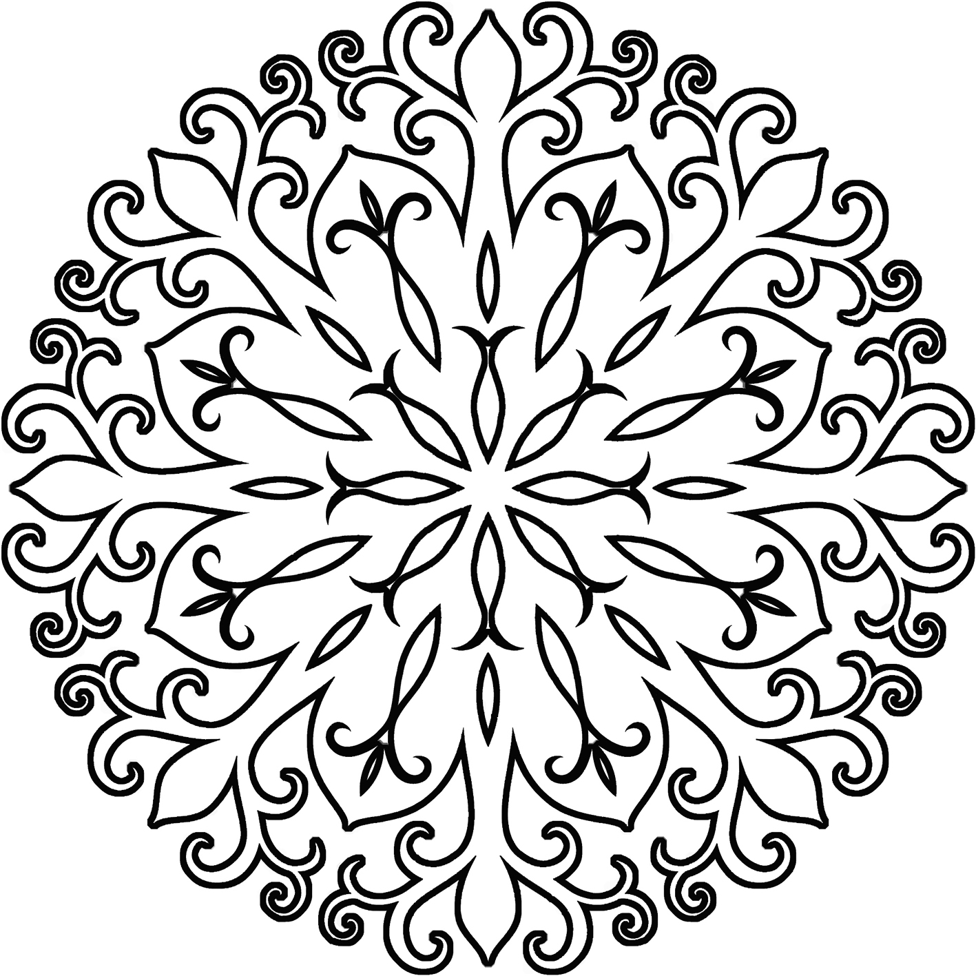 filigree-flake coloring mandala