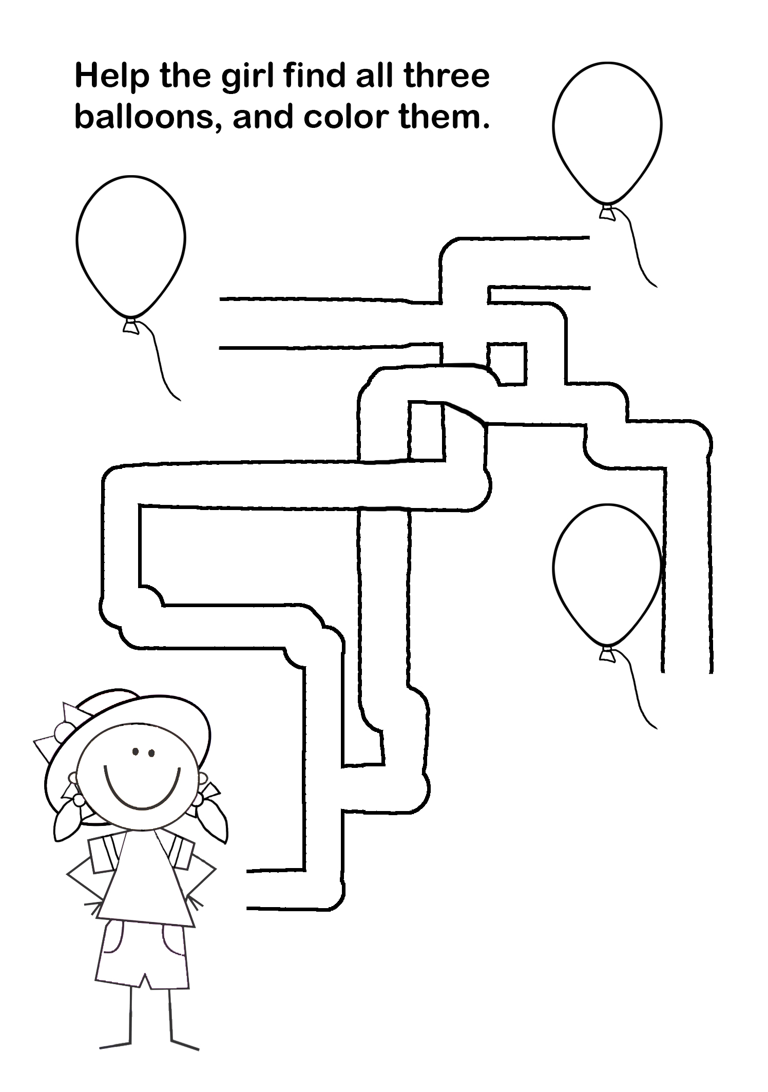maze puzzle find and color balloons