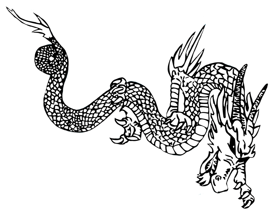 silhouette of fire breathing dragon