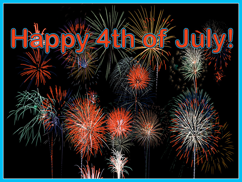 4th of July graphics firework and greeting