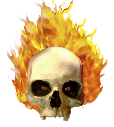 skull on fire clip art