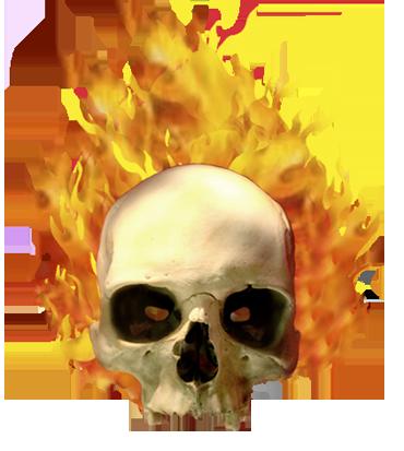skull on fire clip art