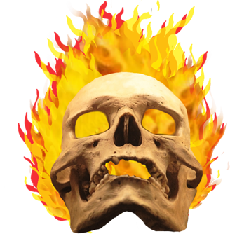 One of the flaming skulls