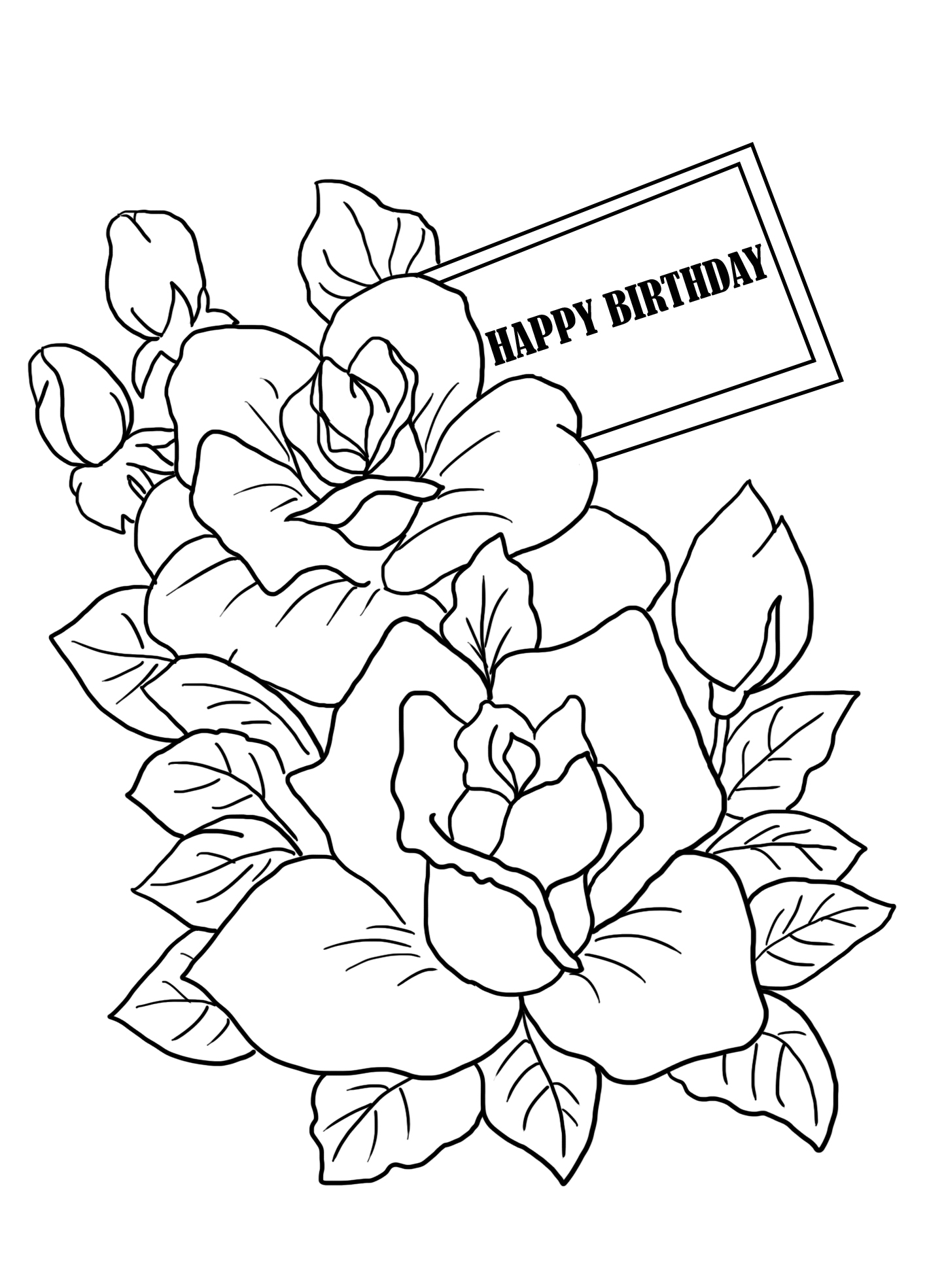 flower coloring sheet birthday greeting