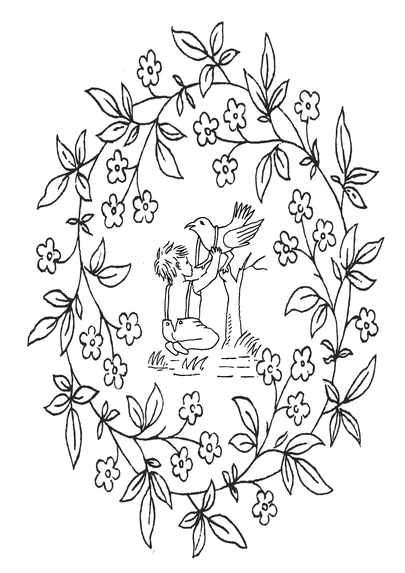 Vintage printable coloring pictures flowers boy bird