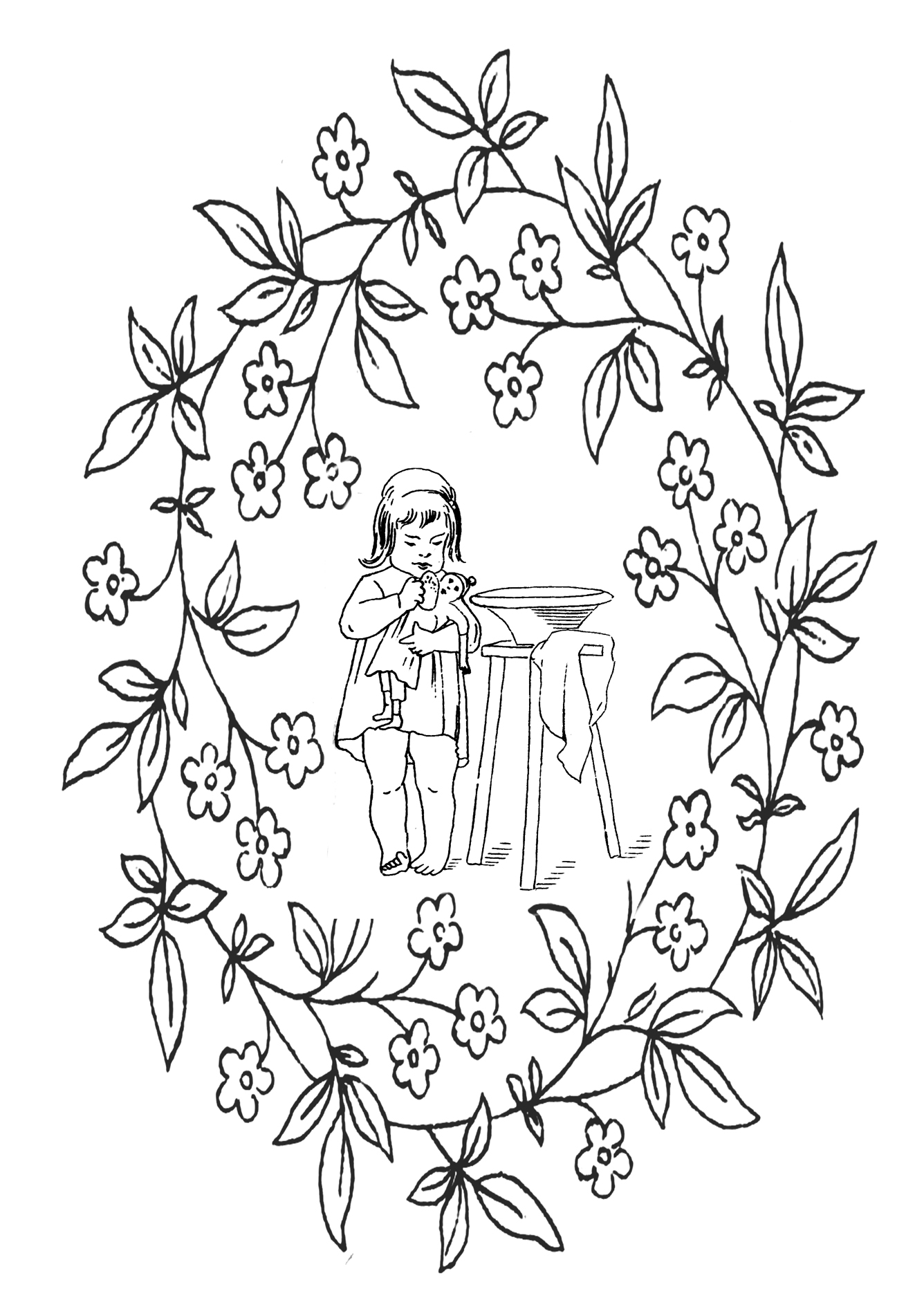 kid coloring page Victorian motive