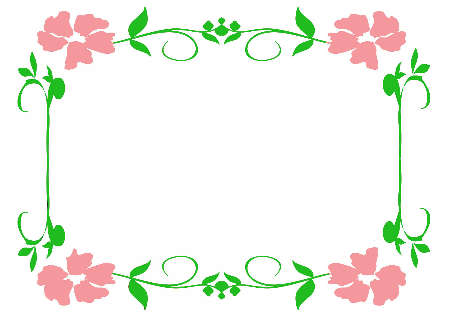 Flower Frame With Green Leaves And Pink Flowers JPEG