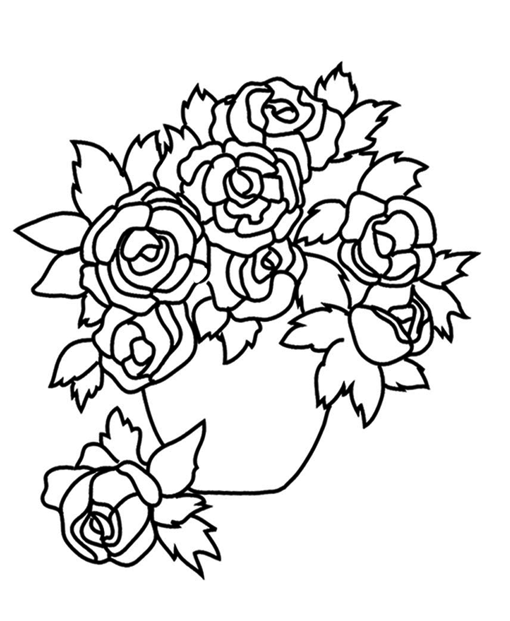 Coloring sheets roses - Flower Images With Roses Vase With Roses Sketch To Color
