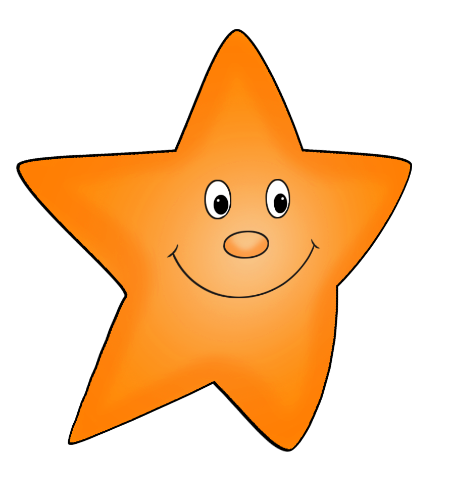 orange flying star drawing