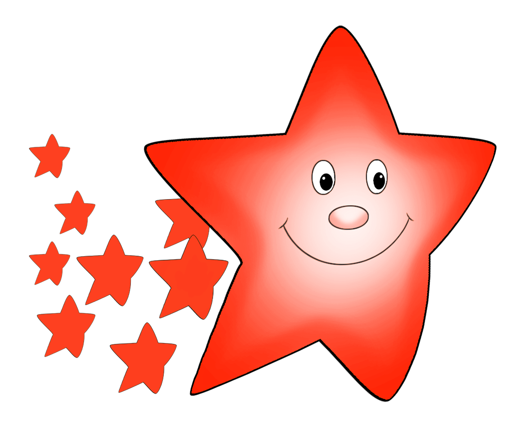 comet clipart orange star with smaller stars