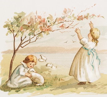 spring drawing children lamb