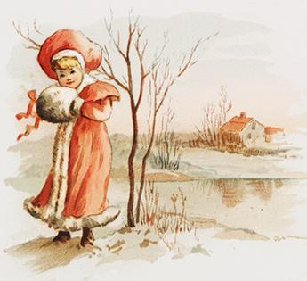 winter drawing girl at winter