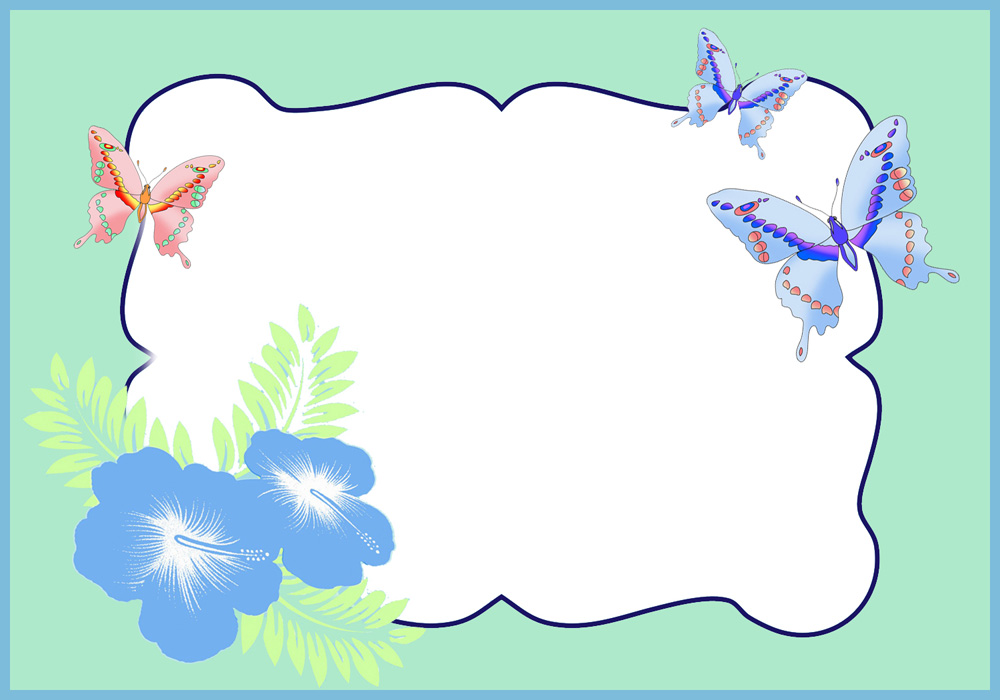 Frame with butterflies and flowers