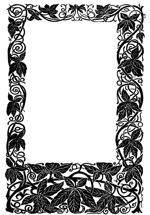 Victorian scrapbook frame with leaves