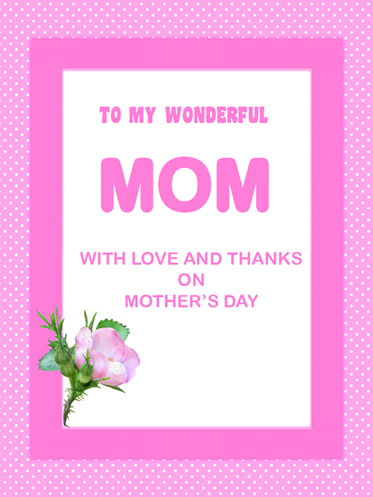 pink mothers day greeting framed