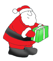 Santa claus clip art with present