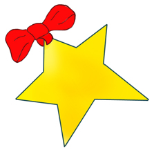 Christmas star with red bow